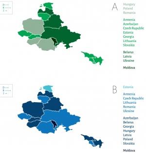Ступінь ризиків через: сприйнятливість населення до дезінформації (A) та якість системних відповідей (B)
