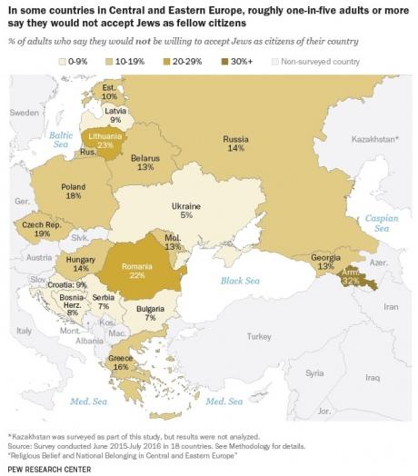 Украина оказалась самой дружественной кевреям страной вВосточной Европе
