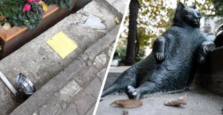 Похитители вернули монумент задумчивому коту