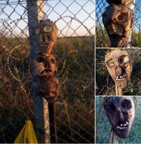 Навенгерской границе беженцев приняли решение отпугивать страшными масками